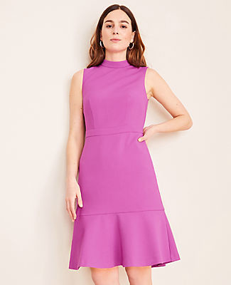 Ann Taylor Tall Doubleweave Mock Neck Flounce Dress
