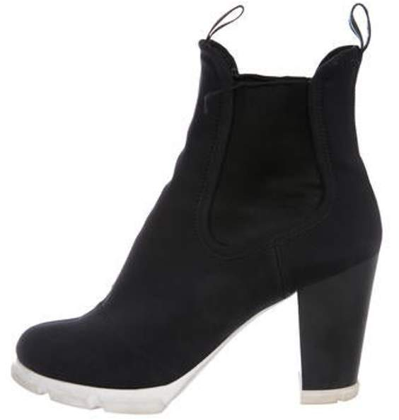 Prada Round-Toe Ankle Boots Black Round-Toe Ankle Boots