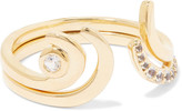 Elizabeth and James Aalto set of two gold-tone crystal rings