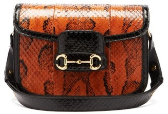 Gucci 1955 Horsebit Snakeskin Shoulder Bag - Brown Multi