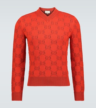 Gucci GG cotton jacquard V-neck sweater