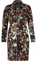 River Island Womens Black floral print shirt dress