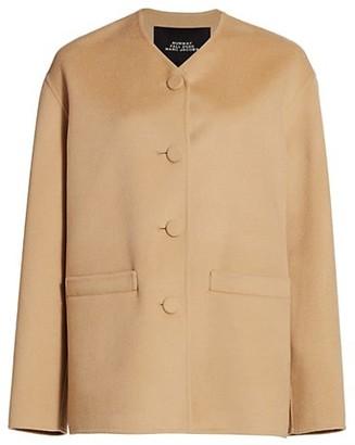 Marc Jacobs Boxy V-Neck Wool-Blend Cardigan Jacket