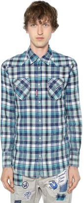 DSQUARED2 Bleached Check Cotton Western Shirt