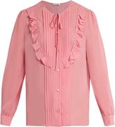 Miu Miu Silk-georgette ruffled-trim blouse