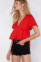 Womens Float That Idea Polka Dot Blouse - red - L
