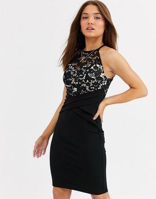 Lipsy lace top high neck mini pencil dress in black