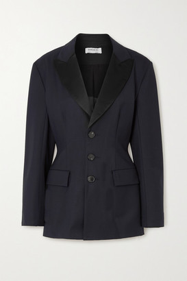 GAUCHERE Rachel Satin-trimmed Wool-blend Gabardine Blazer - Blue