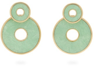 Mother of Pearl Retrouvai - Swivel Mother-of-pearl & 14kt Gold Earrings - Womens - Green Gold