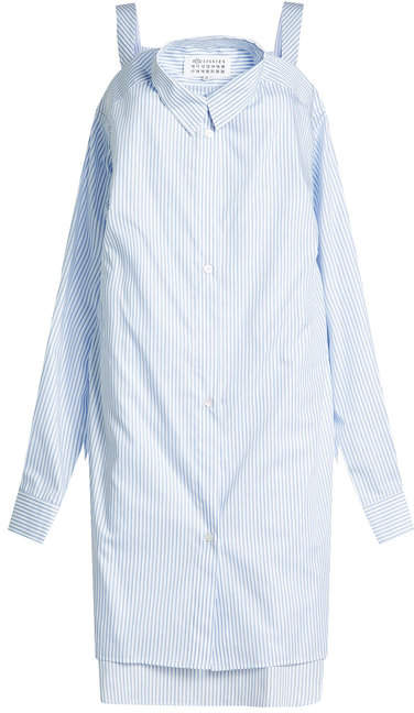Maison Margiela Striped Cotton Shirt Dress with Cut-Out Shoulders