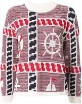 Coohem knitted marin motif jumper