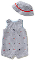 Little Me Baby Boys 3-12 Months Americana Flag-Printed Shortall & Hat Set