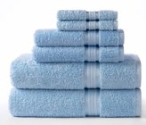 Ringspun Cotton Craft Ultra Soft 6 Piece Towel Set Light Blue, Luxurious 100% Cotton, Heavy Weight & Absorbent, Rayon Trim - 2 Oversized Large Bath Towel 30x54, 2 Hand Towel 16x28, 2 Wash Cloth 12x12