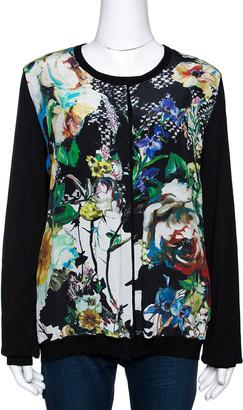 Roberto Cavalli Multicolor Printed Silk & Knit Double Layer Cardigan L