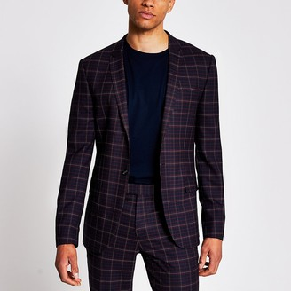 River Island Dark red tartan skinny stretch suit jacket