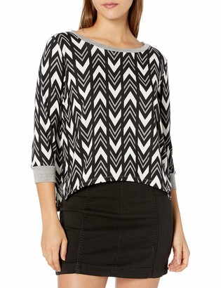 Tresics Women's Trendy Basic Junior Sharkbite Cropped Pullover Chevron Patterned