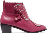 Sophia Webster Karina Butterfly Studded Leather Ankle Boots - Plum