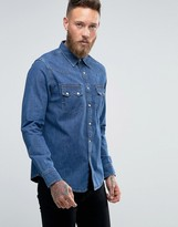 Lee Regular Fit Denim Shirt Western Mid Stonewash