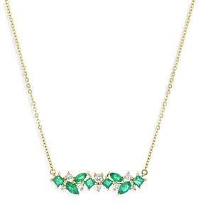 Bloomingdale's Emerald & Diamond Bar Necklace in 14K Yellow Gold, 18 - 100% Exclusive