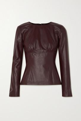 CHRISTOPHER ESBER Charli Gathered Leather Top - Purple