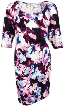 Notations Women's Plus Size Allover Printed 3/4 Split Sleeve Dress