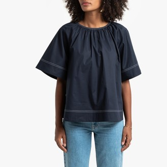La Redoute Collections Cotton Poplin A-Line Blouse with Round-Neck