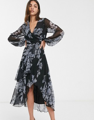 Asos Design DESIGN wrap waist midi dress with double layer skirt and long sleeve in floral print-Multi