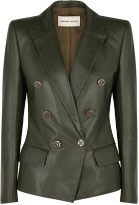 Alexandre Vauthier Dark green double-breasted leather blazer