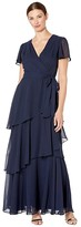 Tahari ASL Flutter Sleeve Chiffon Maxi Dress with Tiered Skirt (Navy) Women's Dress