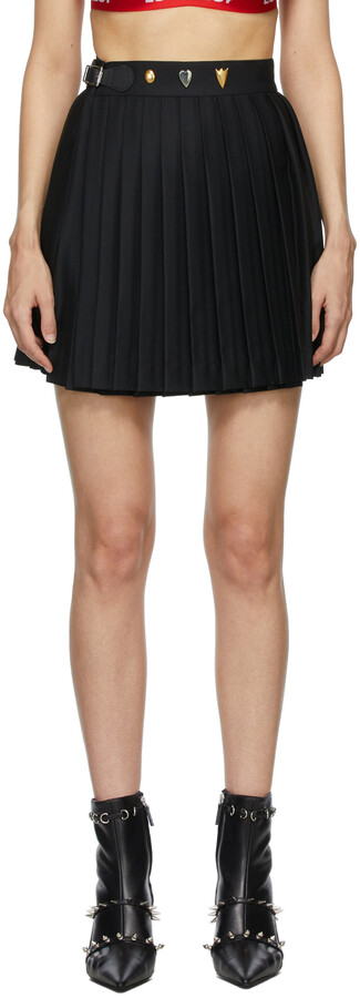 Thumbnail for your product : Charles Jeffrey Loverboy Black Studded Pleated Kilt Miniskirt
