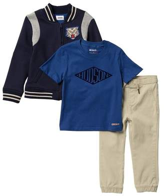 Hudson Jeans Varsity Jacket, Top & Pants - 3-Piece Set (Toddler Boys)