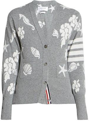 Thom Browne Ocean Floor Intarsia V-neck Cardigan