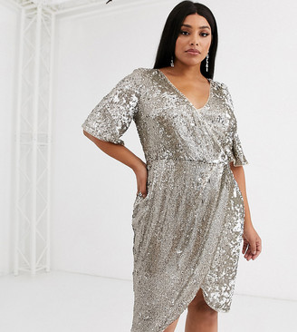 TFNC Plus sequin wrap front kimono midi dress in two tone sequin