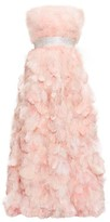Dolce & Gabbana Crystal-embellished Feather-trimmed Silk Gown - Womens - Light Pink