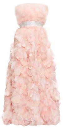 Dolce & Gabbana Crystal-embellished Feather-trimmed Silk Gown - Light Pink