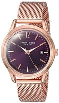 Akribos XXIV Women's Quartz Rose-Tone Case with Rose-Tone Accented Purple Sunray Dial on Rose-Tone Stainless Steel Mesh Bracelet Watch AK930PU