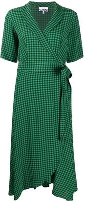 Ganni Gingham-Print Wrap Mid-Length Dress