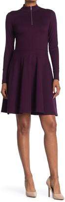 T Tahari Mock Neck Zip Long Sleeve Fit & Flare Dress