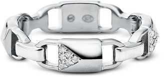 Michael Kors Plated Sterling Silver Pave Mercer Link Ring