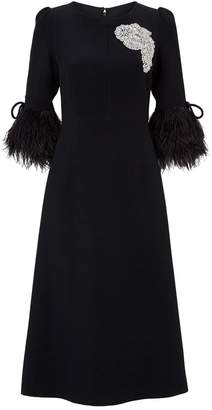Andrew Gn Embellished Feather-Trim Dress