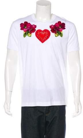 Dolce & Gabbana Floral & Heart Appliqué T-Shirt w/ Tags