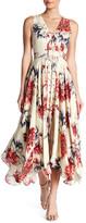 Haute Hippie Silk Floral Lace-Up Midi Dress
