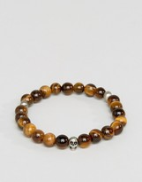 Simon Carter Skull Beaded Bracelet In Tigerseye