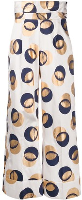 Dice Kayek Flared Leg Metallic Spot Trousers