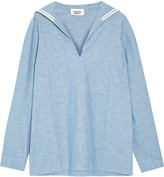 Sleepy Jones Francine cotton-chambray pajama top