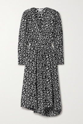 Etoile Isabel Marant Serali Asymmetric Printed Crepe Midi Dress - Black