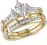 Zales 1 CT. T.W. Marquise Diamond Three Stone Bridal Set in 14K Gold
