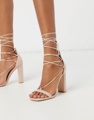 Public Desire Frankie ankle tie block heeled sandal in beige