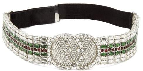 Gucci Tennis Crystal Embellished Headband - Womens - Green