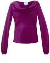 Rebecca De Ravenel Laura Cowl-neck Hammered-silk Blouse - Womens - Dark Pink